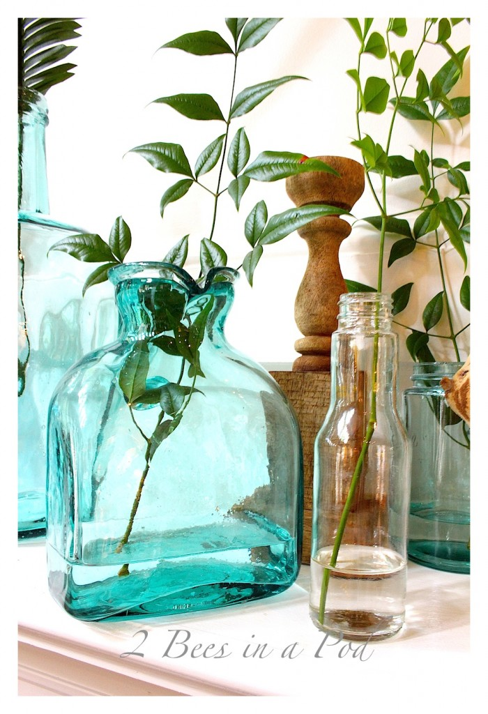 Coastal Inspired Simmer Mantel - using glass bottles in the colors of the ocean