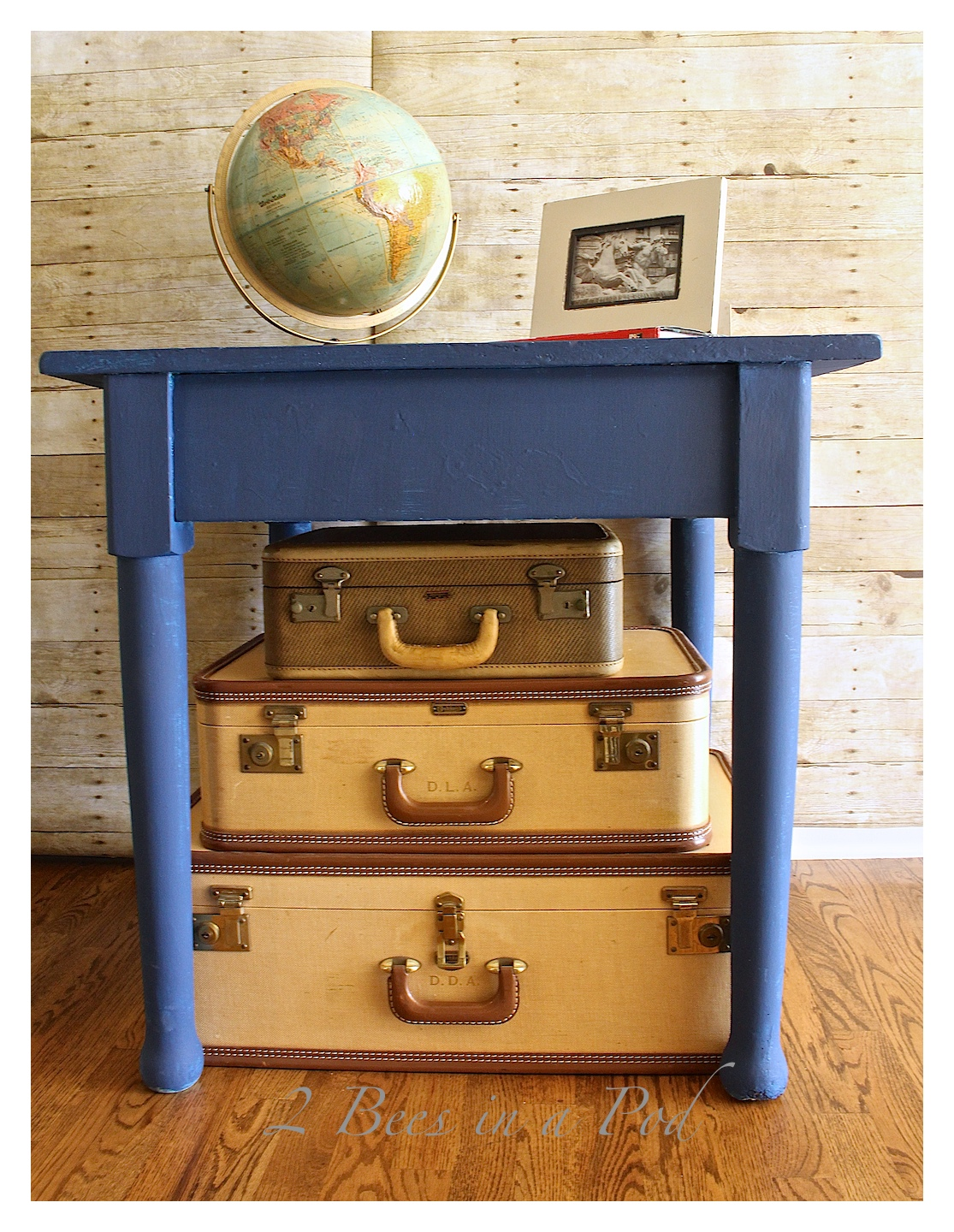 Painted Furniture  Side Table Makeover With Annie Sloan Chalk Paint  Napeoleonic Blue
