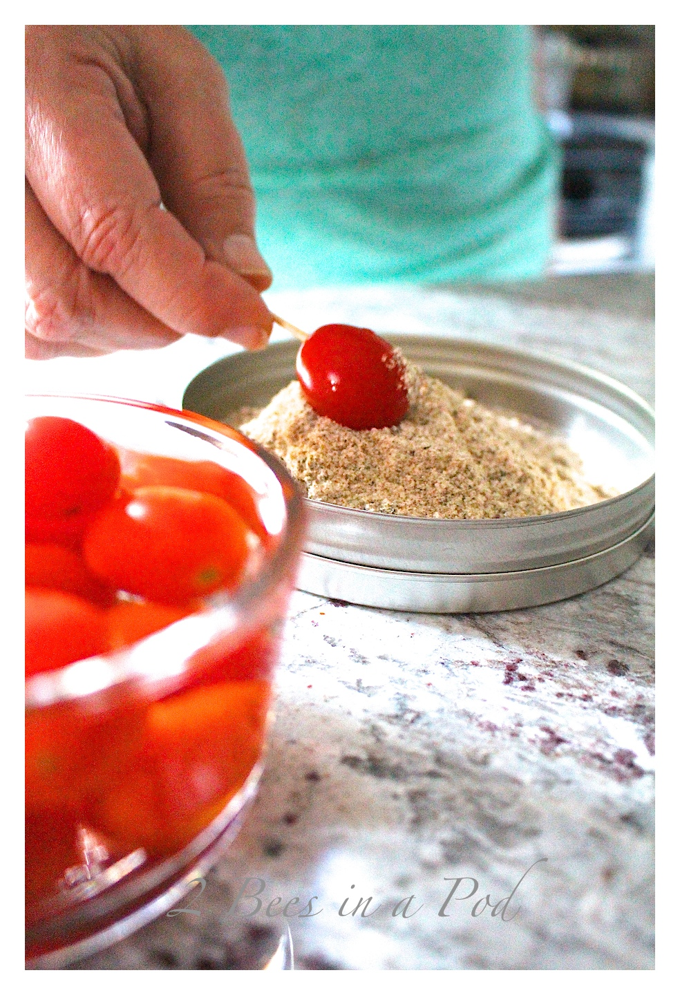 Perfect nibble for a cocktail party…Bloody Mary Tomato Appetizer. Takes seconds to make!