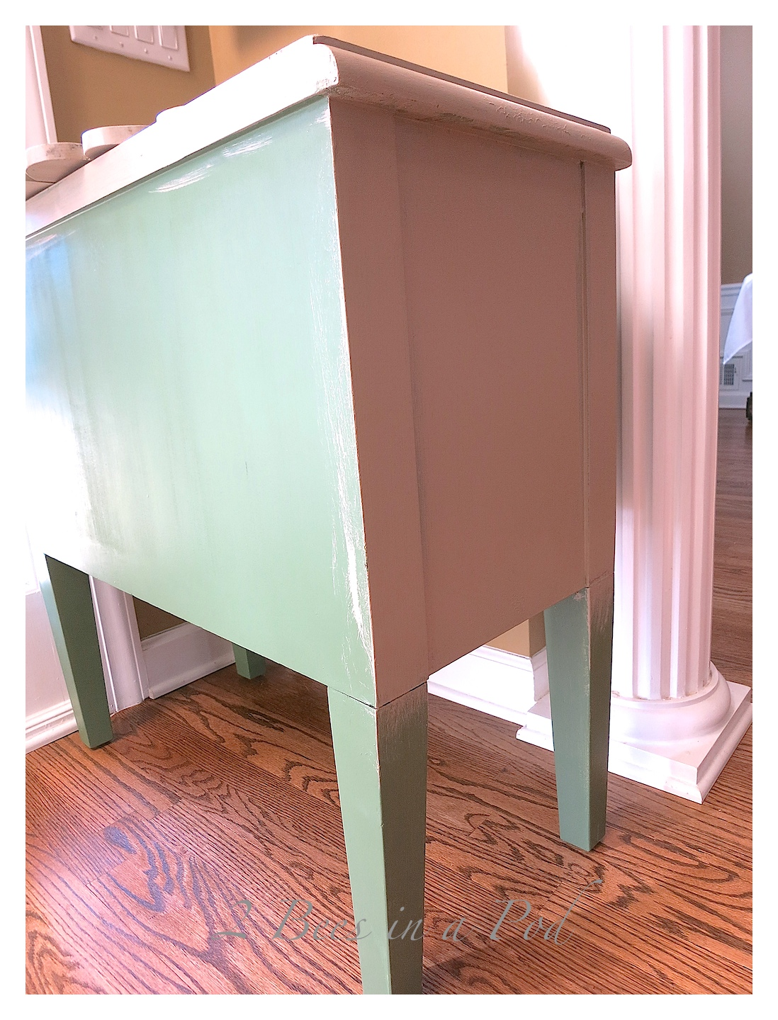 Side table makeover with Annie Sloan Chalk Paint - inside painted in Napoleonic Blue Annie Sloan Chalk Paint. Outside of table painted in Annie Sloan Chalk Paint Old White
