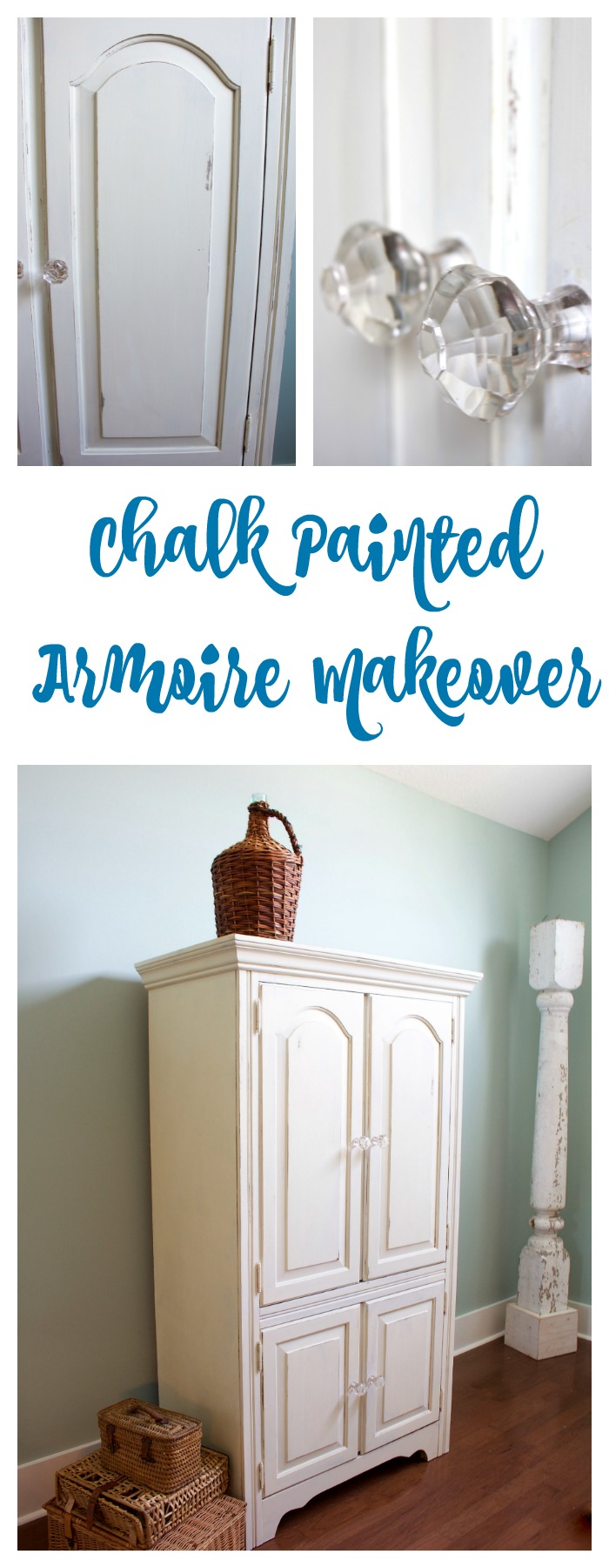 Chalk Painted Armoire Makeover - 2 Bees in a Pod