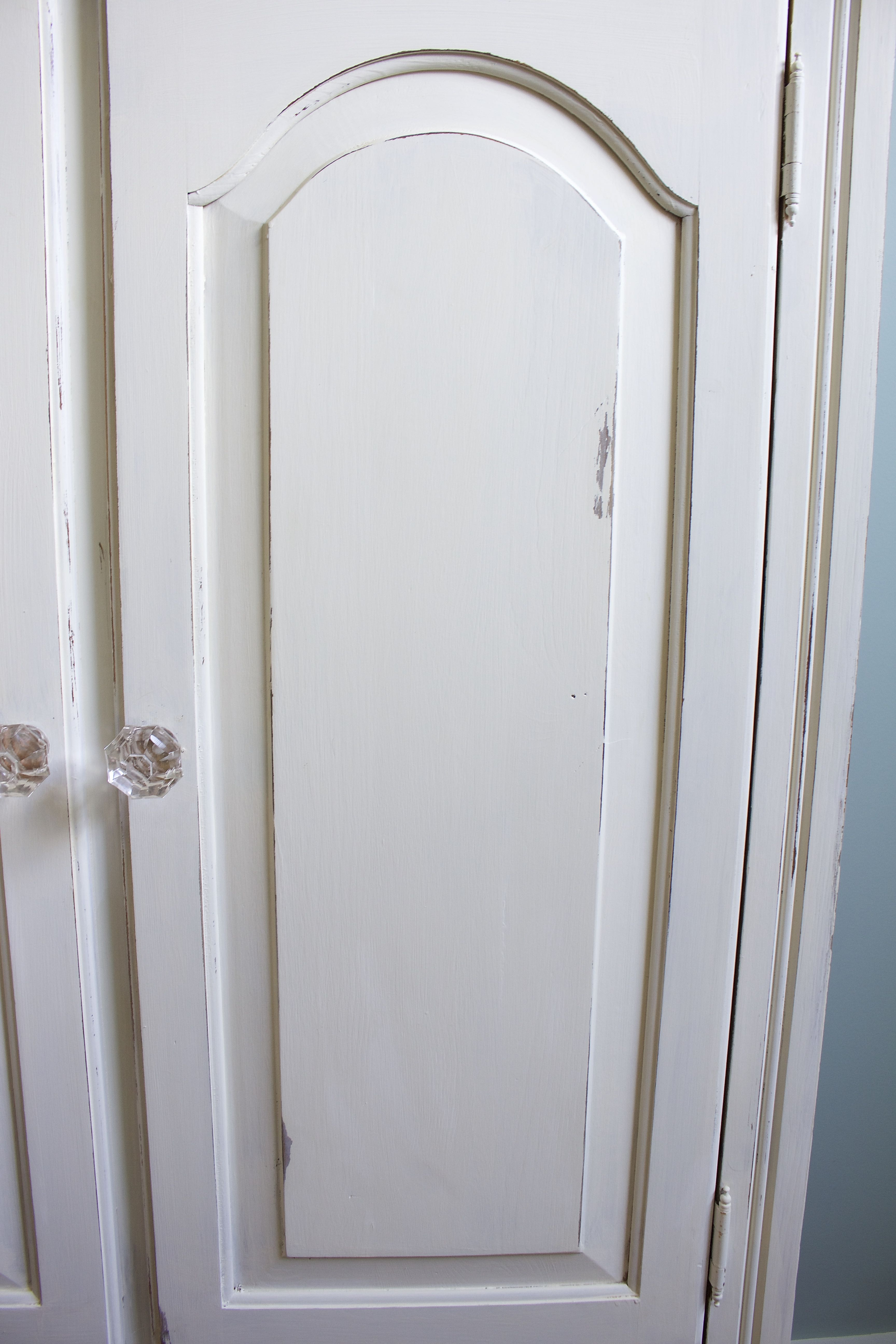 Chalk Painted Armoire Makeover. Distressing a piece of furniture is always a must.