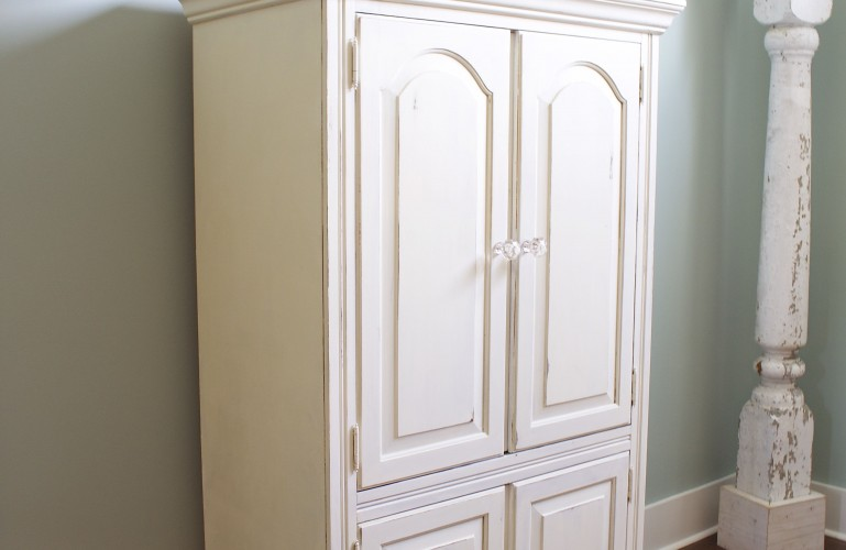 Chalk Painted Armoire Makeover - using homemade chalk paint color matched to ASCP Old White, distressed, waxed and glass knobs added