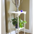Chalk Painted Plant Stand Table. A vintage table got a makeover with a bit of chalk paint color matched to Old White.