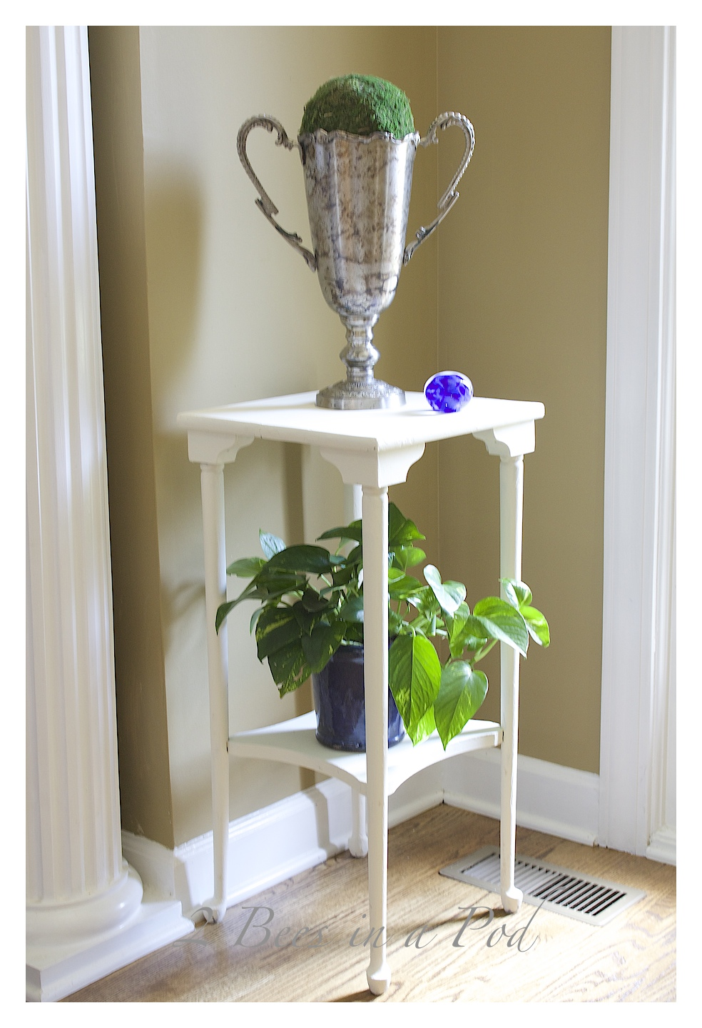 Chalk Painted Plant Stand Table