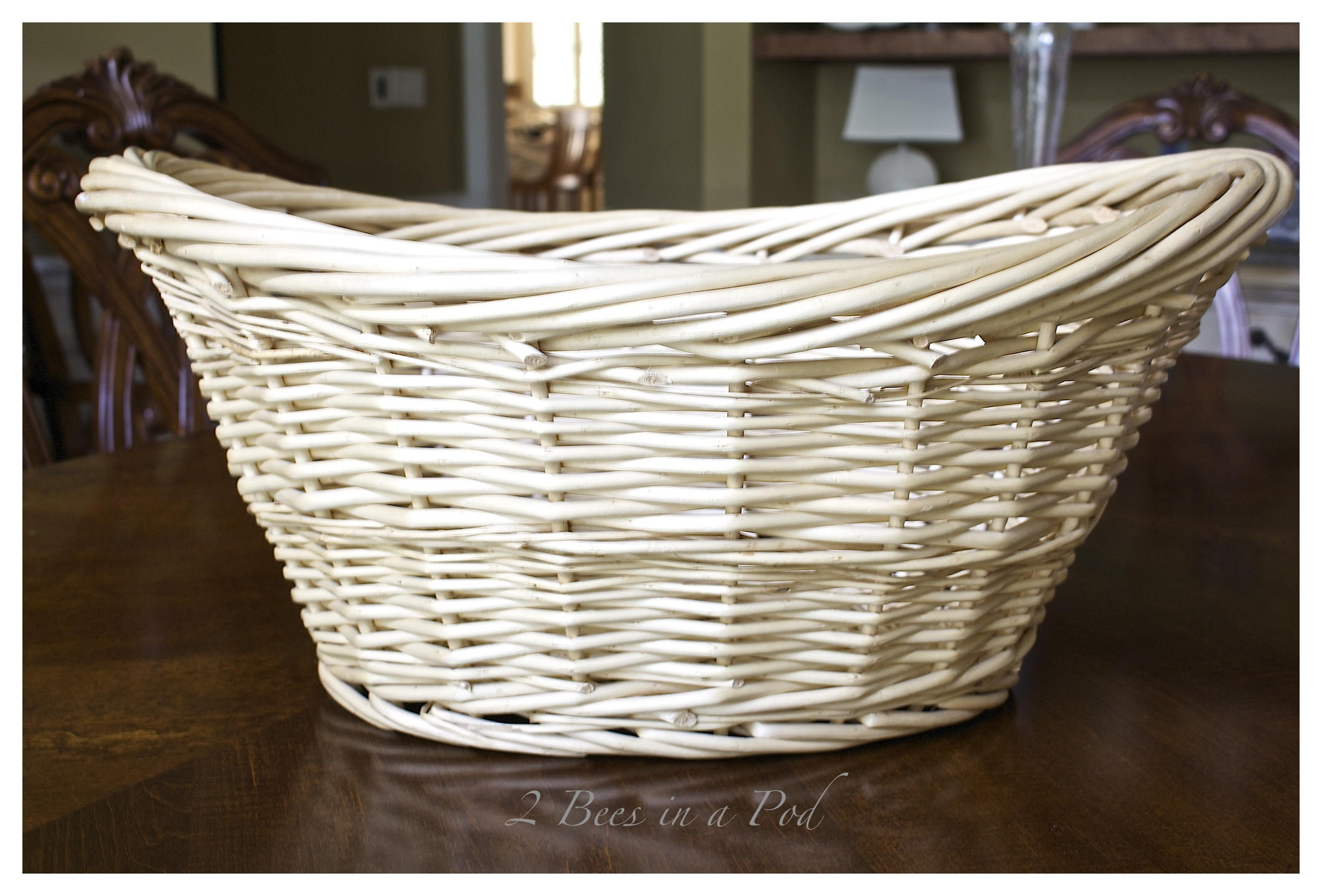 DIY Gray Washed Wicker Laundry Basket U2026