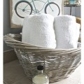 12 DIY Bathroom Ideas - DIY Housewives Series. Gray Washed Wicker Laundry Basket