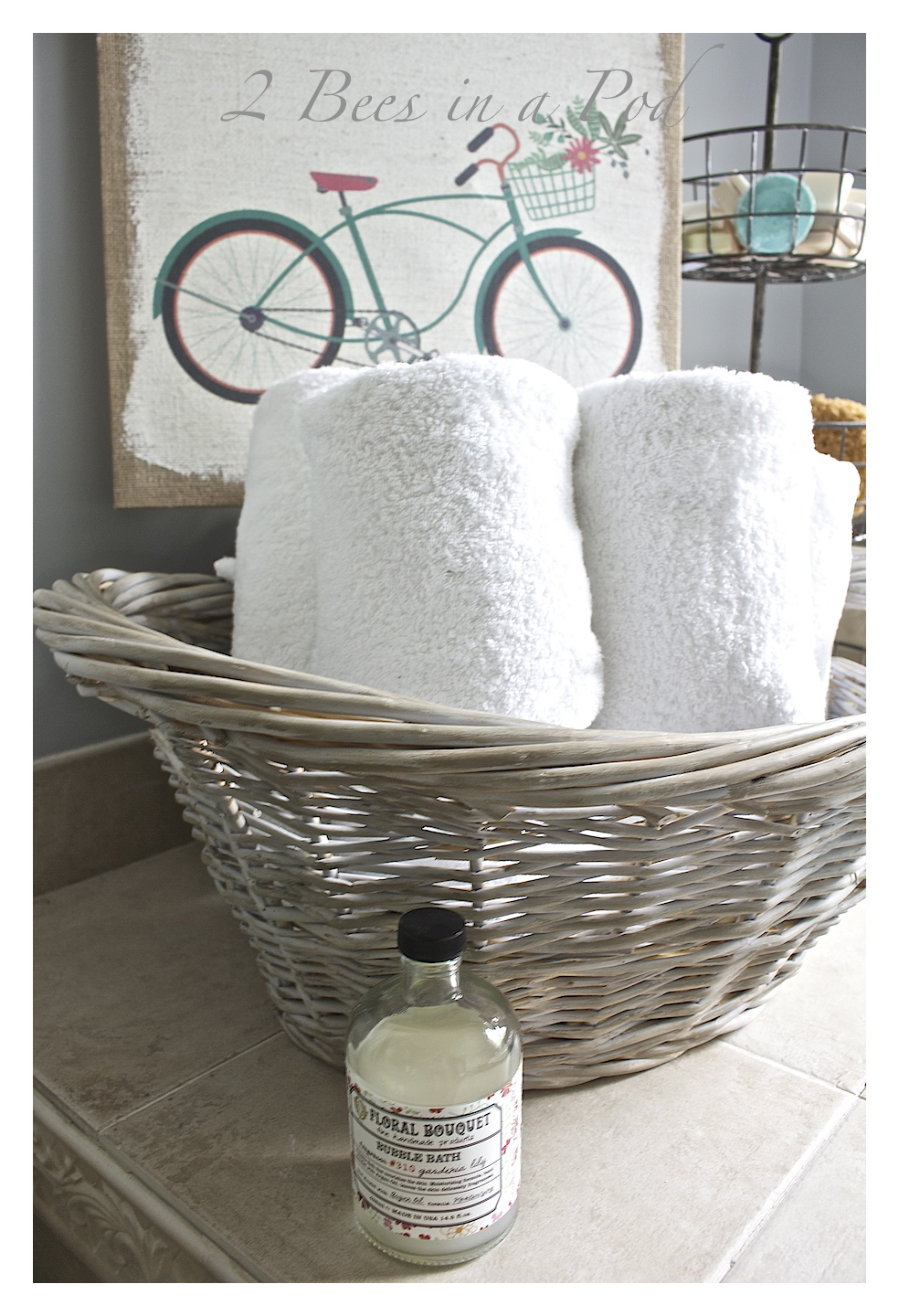 DIY Gray Washed Wicker Laundry Basket