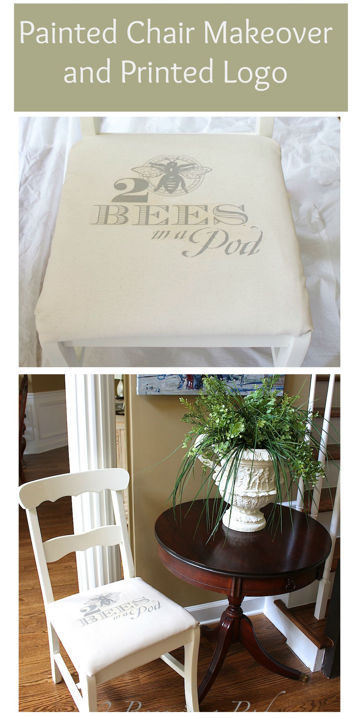 Painted Chair Makeover and printed logo. Trash to treasure chalk painted chair