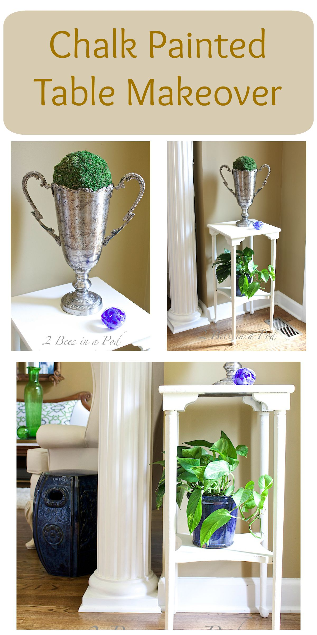 Plant Stand makeover Collage