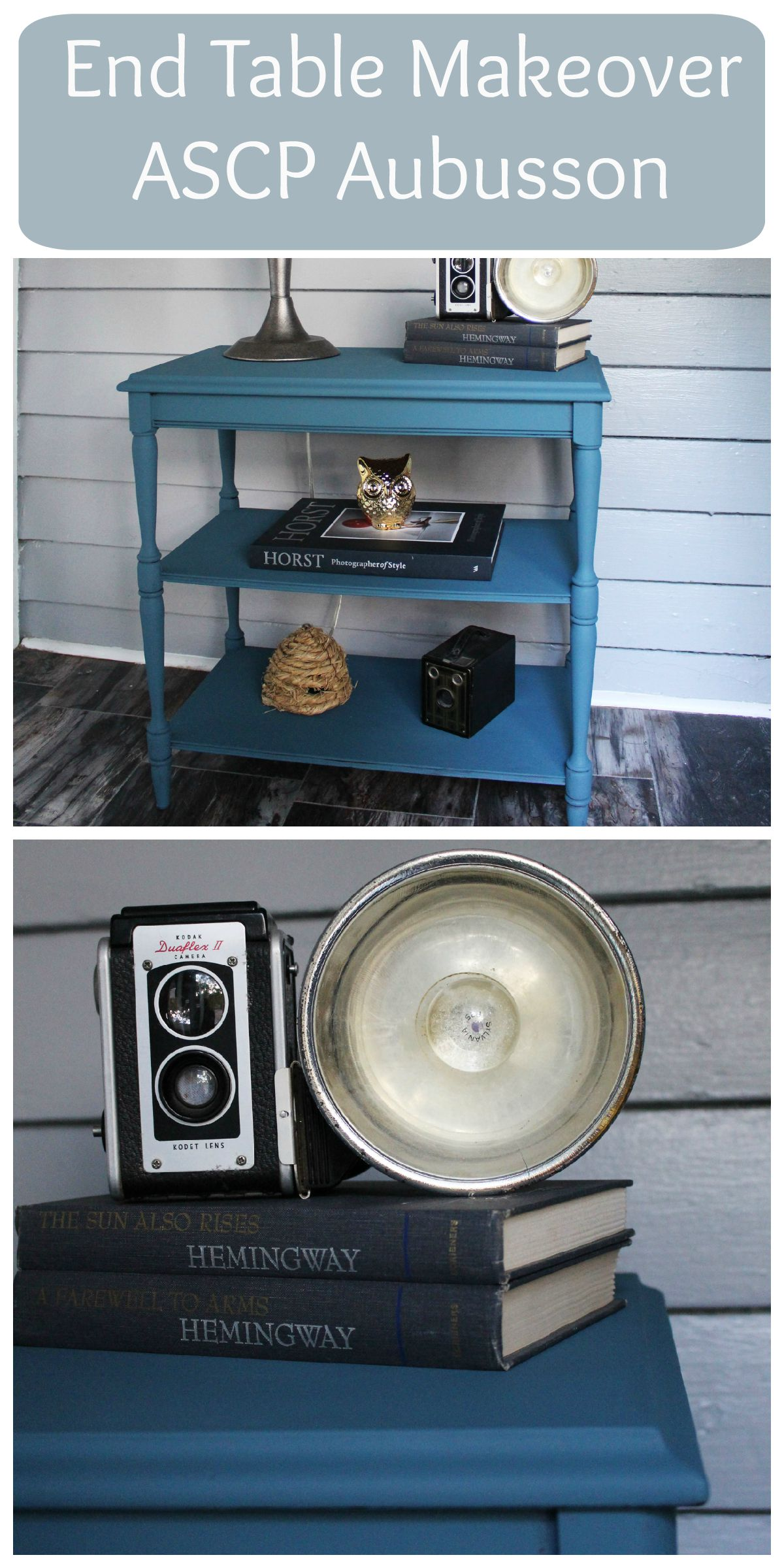 Annie Sloan Chalk Paint in Aubusson - painted end table makeover