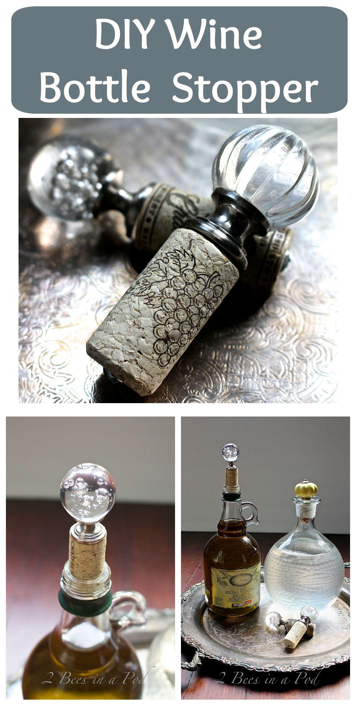 DIY Wine Bottle Stopper - 2 Bees in a Pod