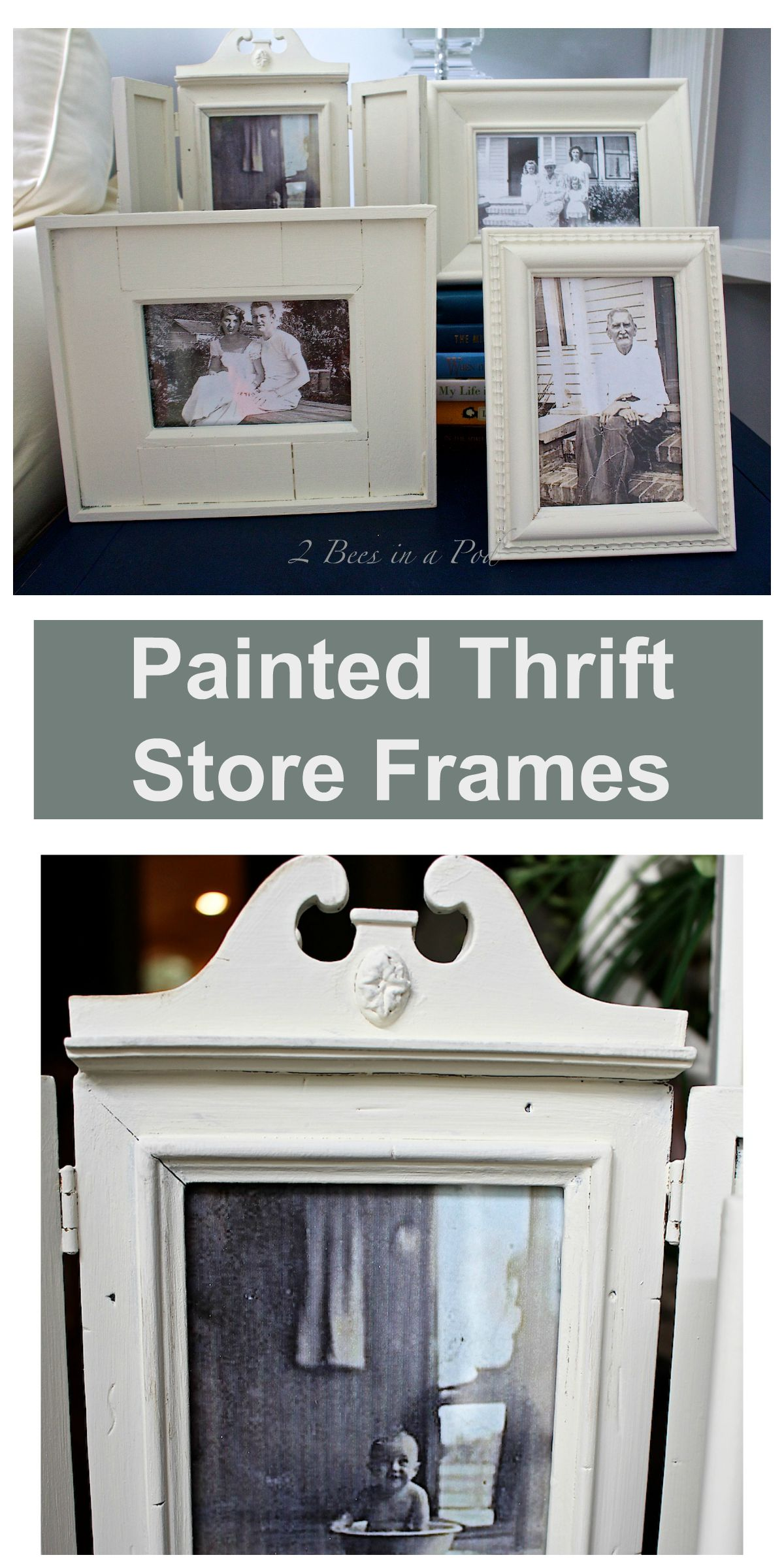 Painted Thrift Store Frames - take mismatched frames and create a cohesive look with paint.