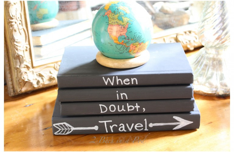 DIY Chalk painted books with painted quote