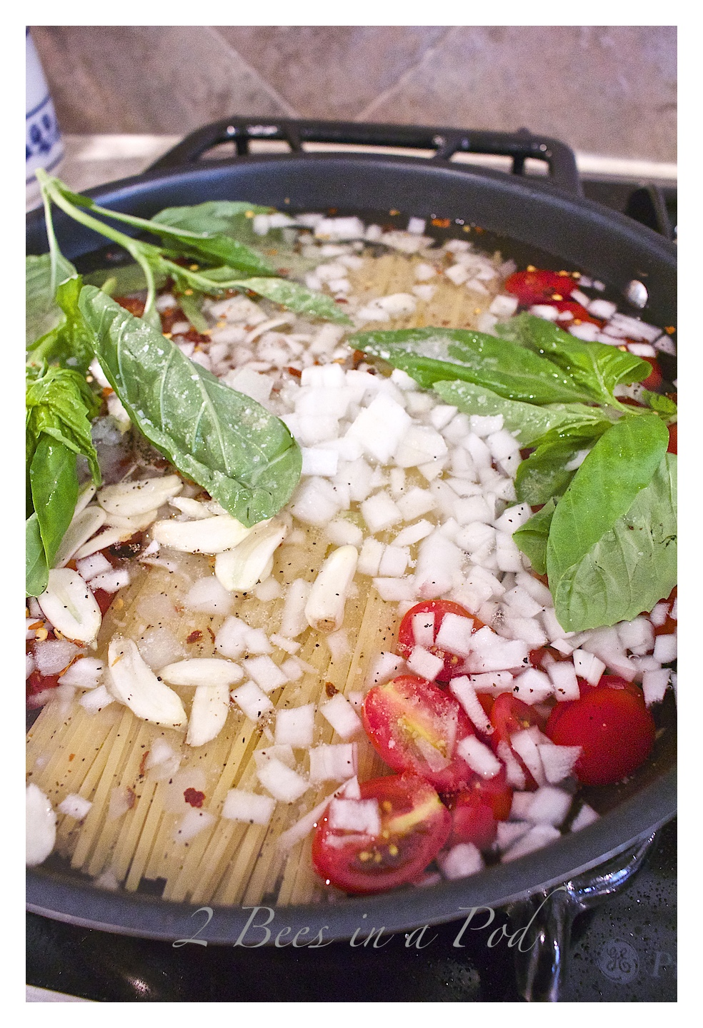 One Pot Pasta - YES everything added to one pan - even the dry pasta. Dinner in a Flash!