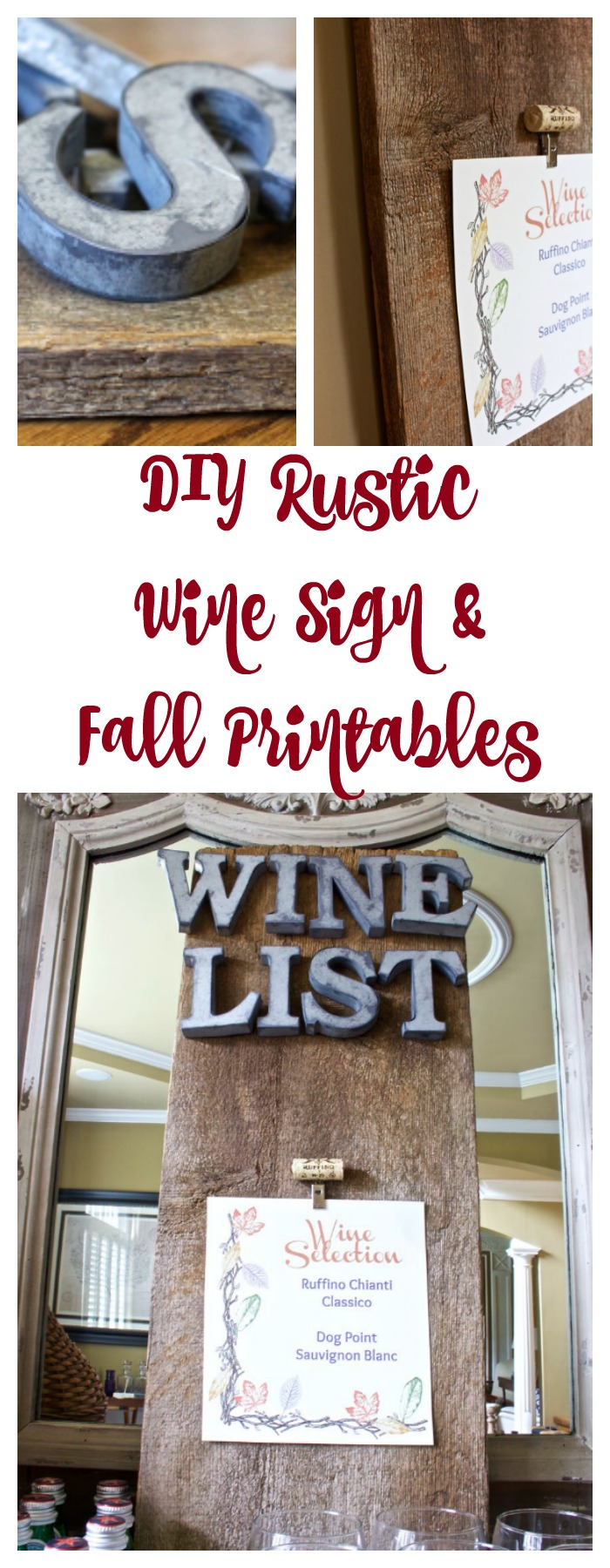 DIY Rustic Wine Sign. Fall Dining Room Decor.