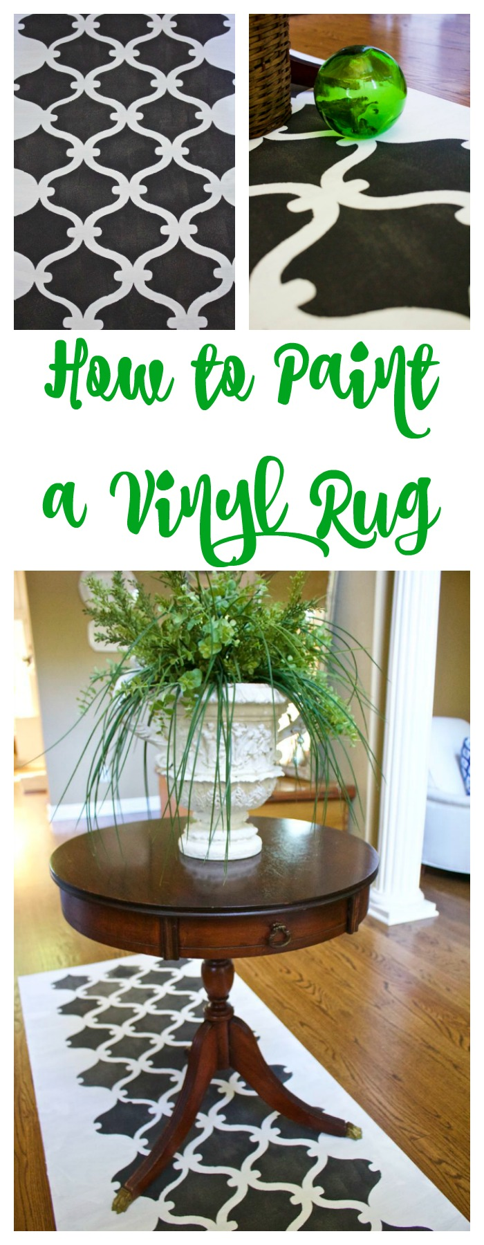 How to paint a vinyl rug 2 bees in a pod painting a vinyl rug with stencil how to project jameslax Images