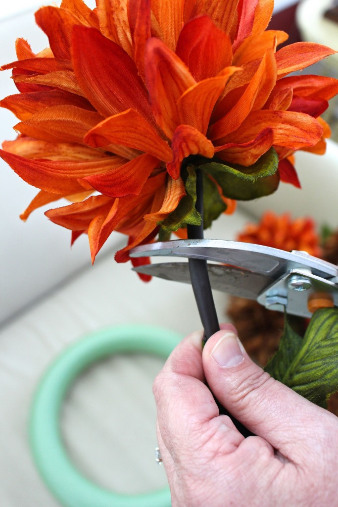 Be careful not to cut the stems too short. You will want to leave about an inch.