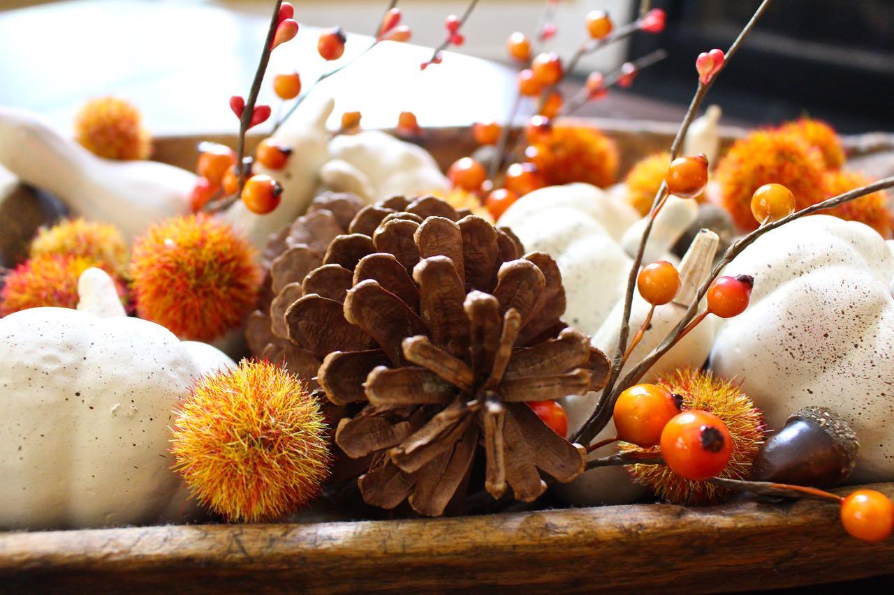 Fall neutral painted mini pumpkins. Pumpkins in rustic bowl.