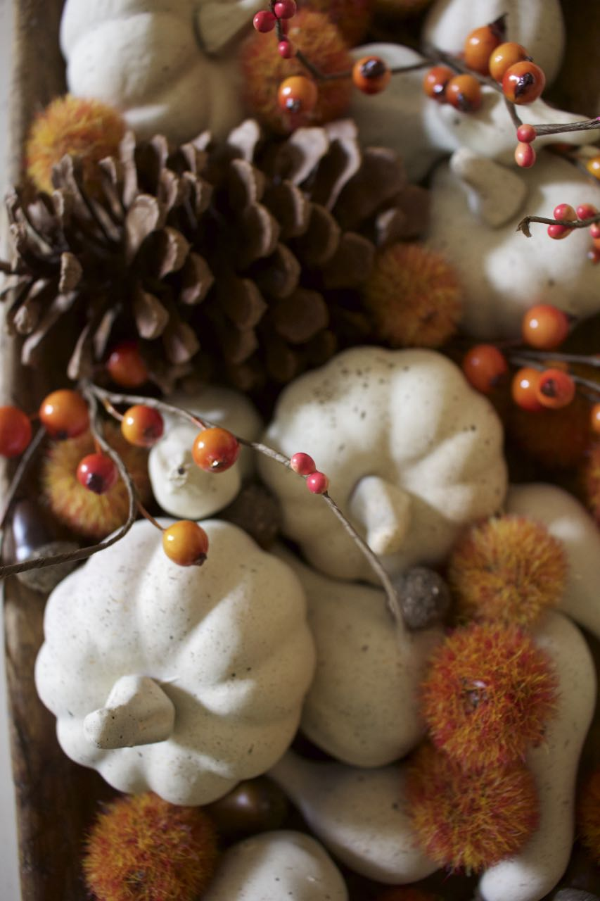 Fall neutral painted mini pumpkins. Vintage wooden bowl and pinecones.