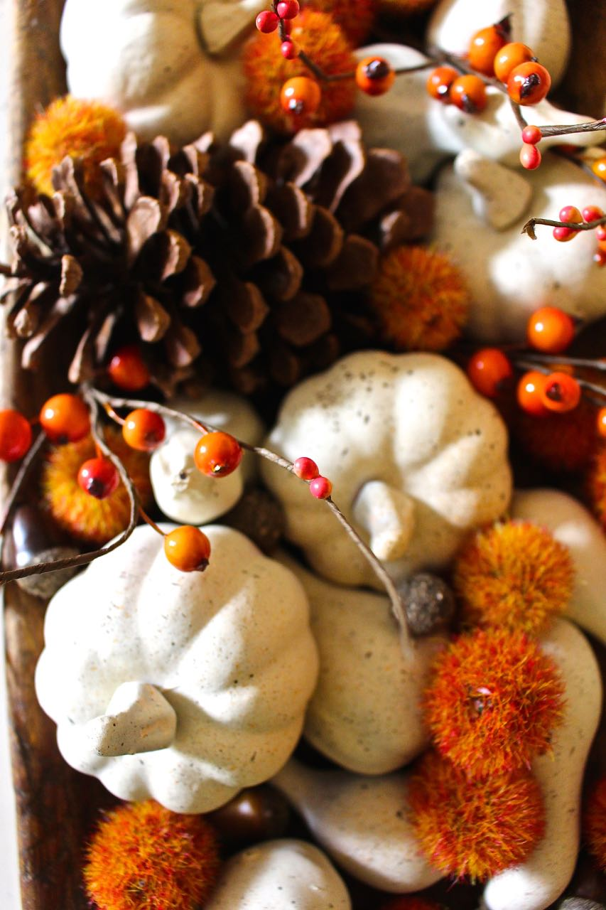 Fall neutral painted mini pumpkins.