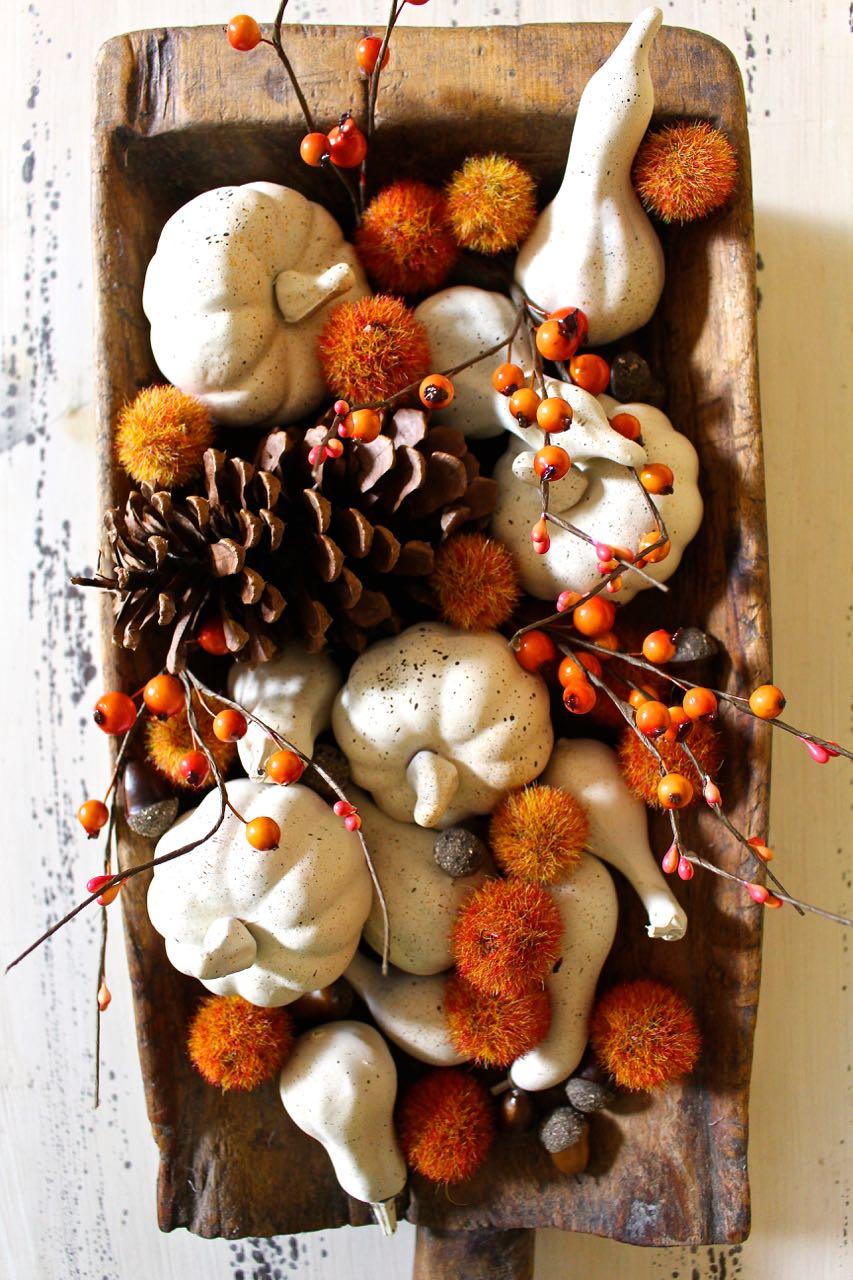Fall neutral painted mini pumpkins. DIY Fall project.