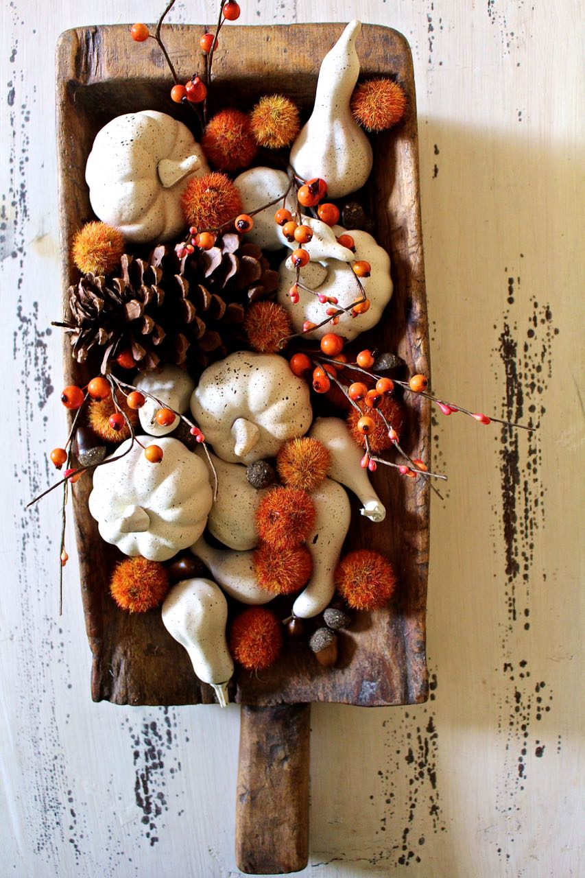 Fall neutral painted mini pumpkins. Fall craft with fake pumpkins.