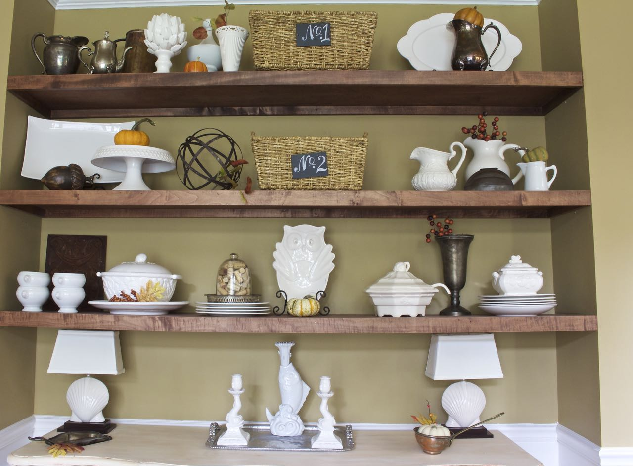 Fall dining room shelves bees in a pod