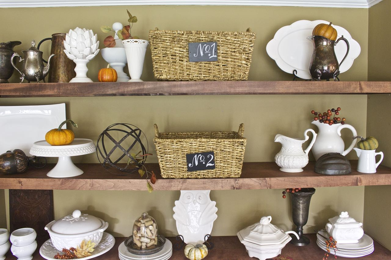 Fall Decor Dining Room Shelves