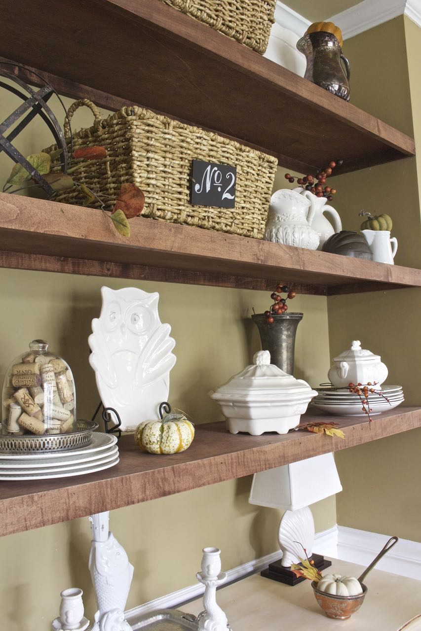 fall dining room shelves - 2 bees in a pod