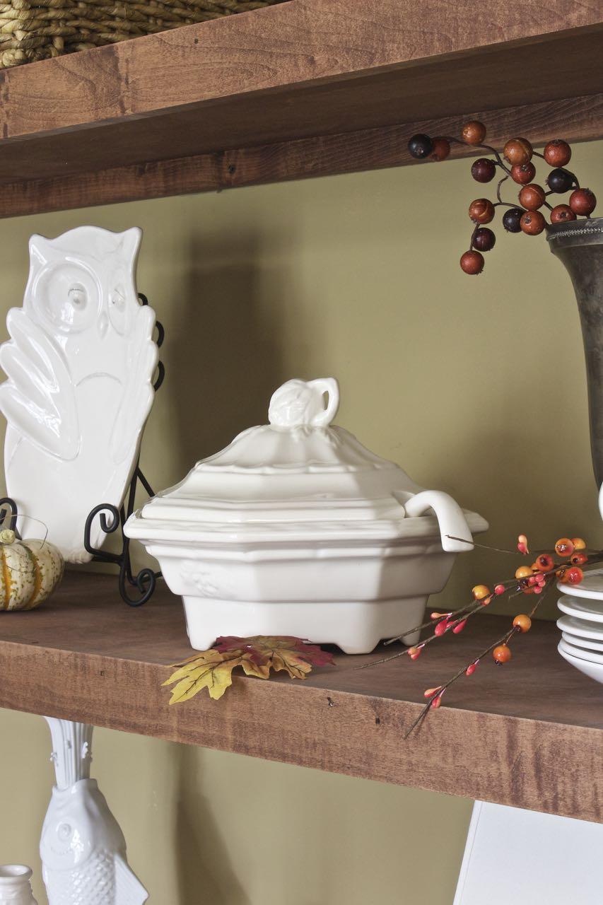 Fall Decor Dining Room Shelves