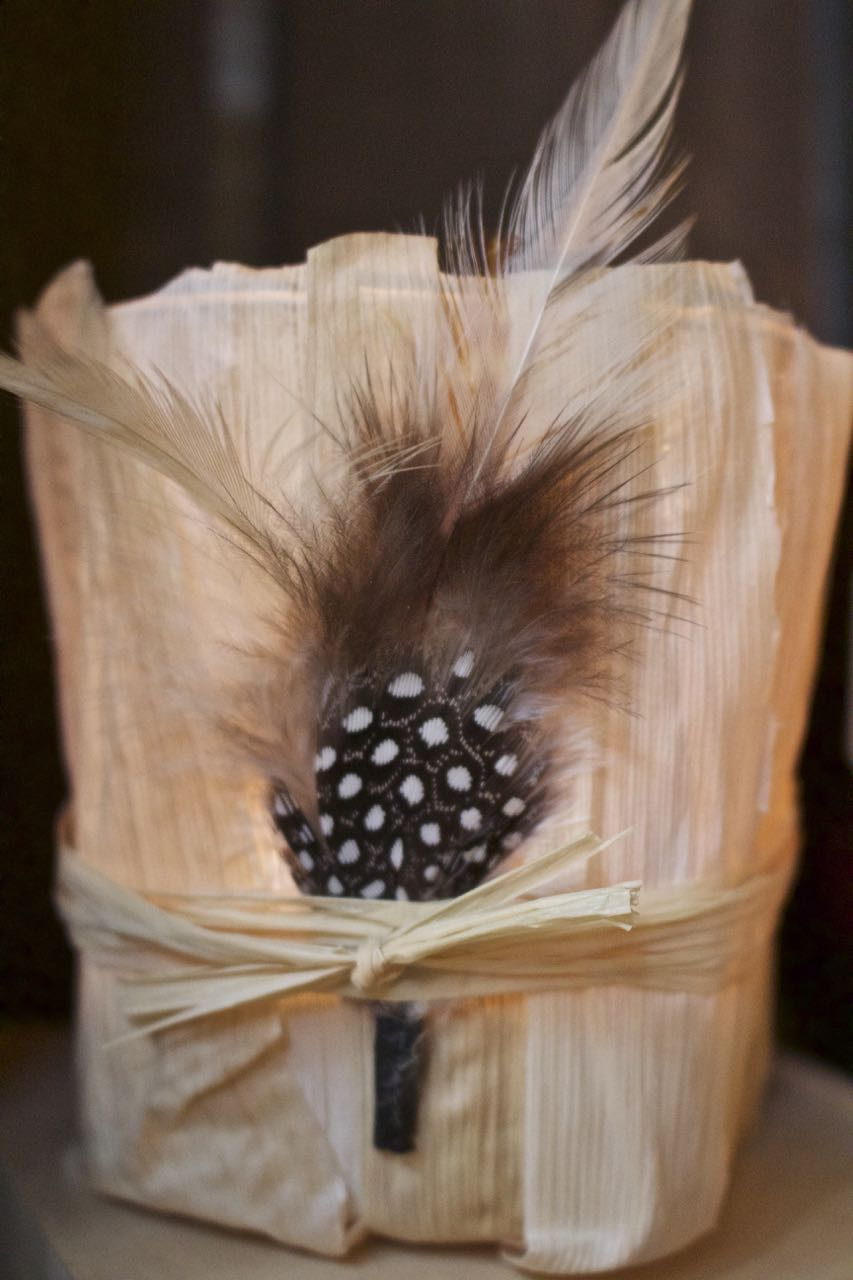 DIY Fall Votive with Cornhusks and Feathers