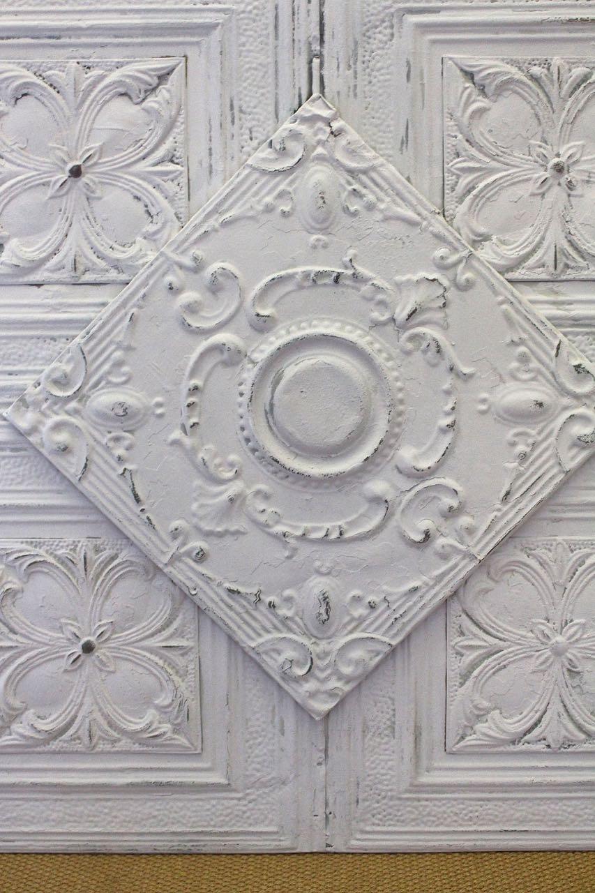 Antique ceiling tin artwork makeover