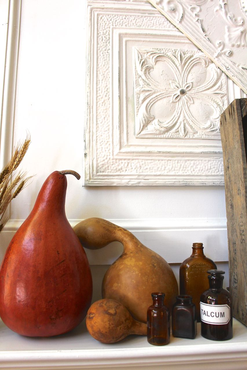 Rustic Natural Fall Mantel Decor