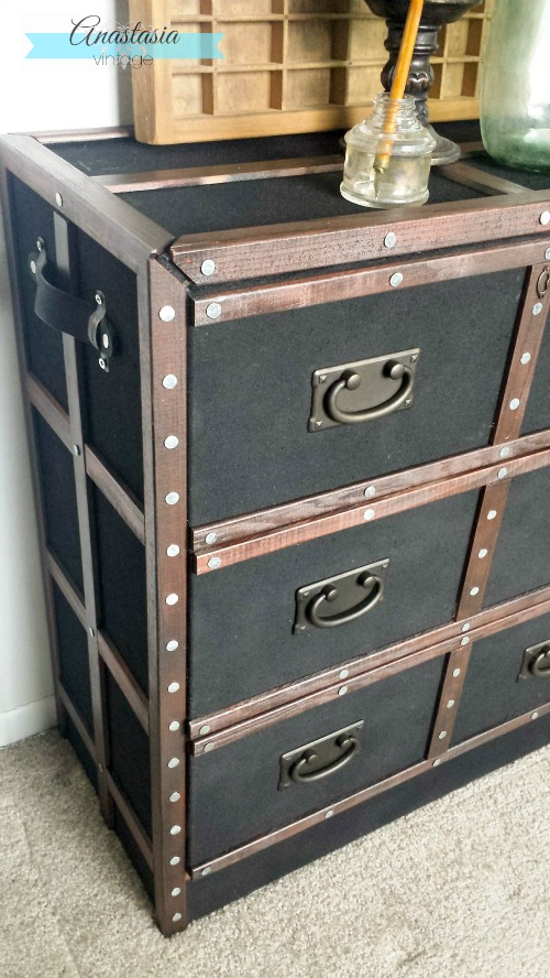 Pottery Barn Ludlow Trunk Inspired IKEA Rast Hack Anastasia Vintage left side