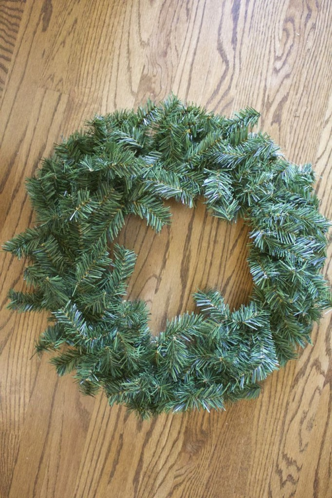 Recycled Christmas Wreath for the front door