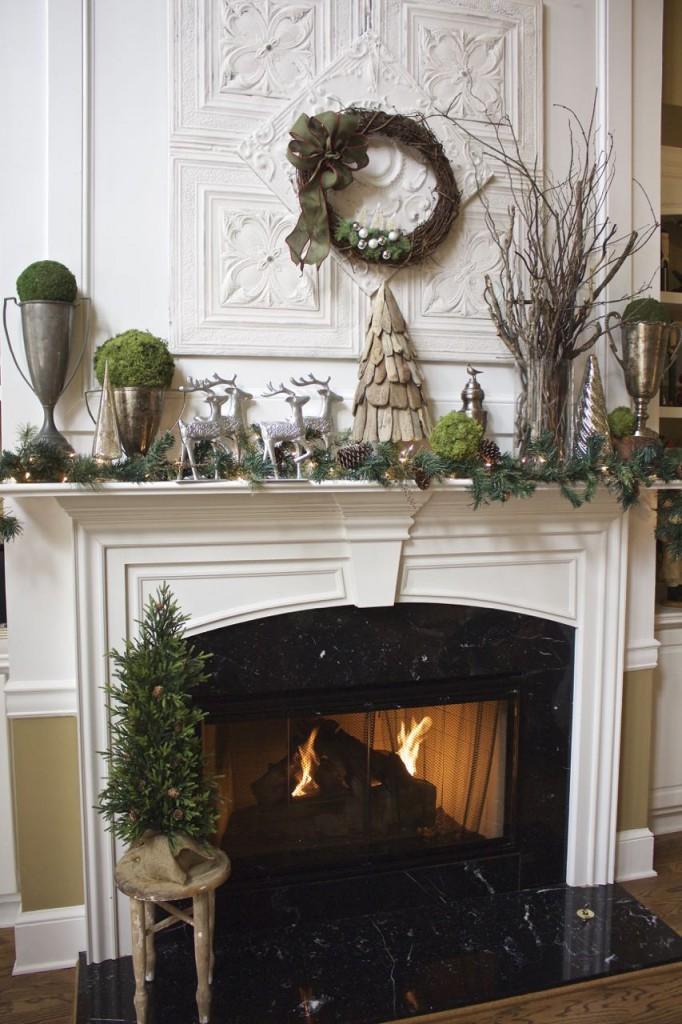 Rustic Woodland Christmas Mantel