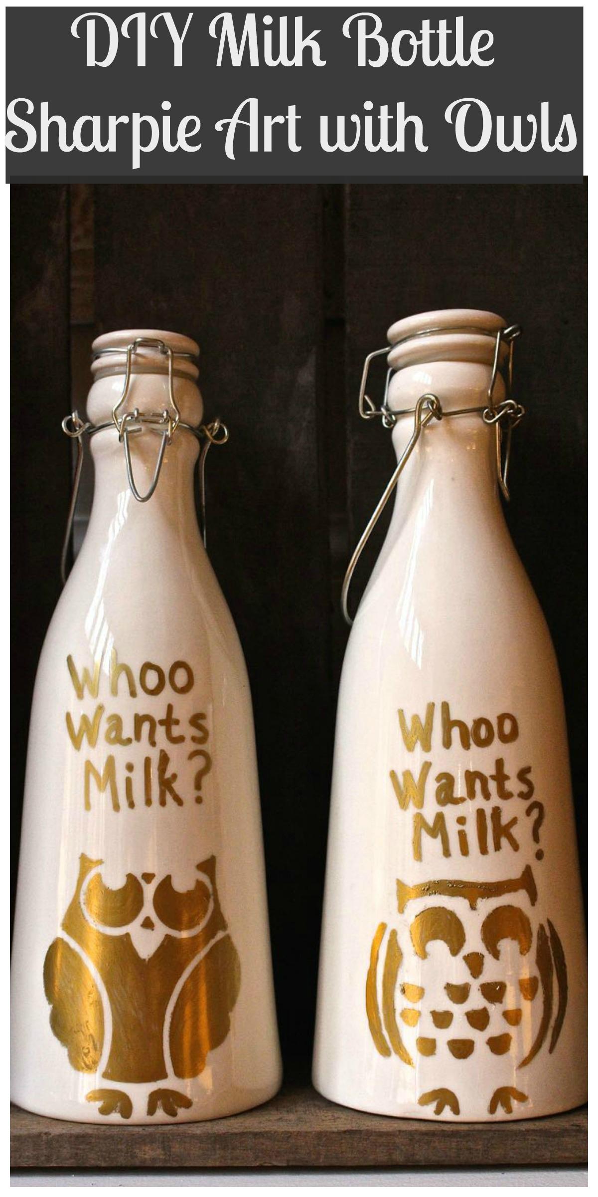 Owl Milk Bottle Collage