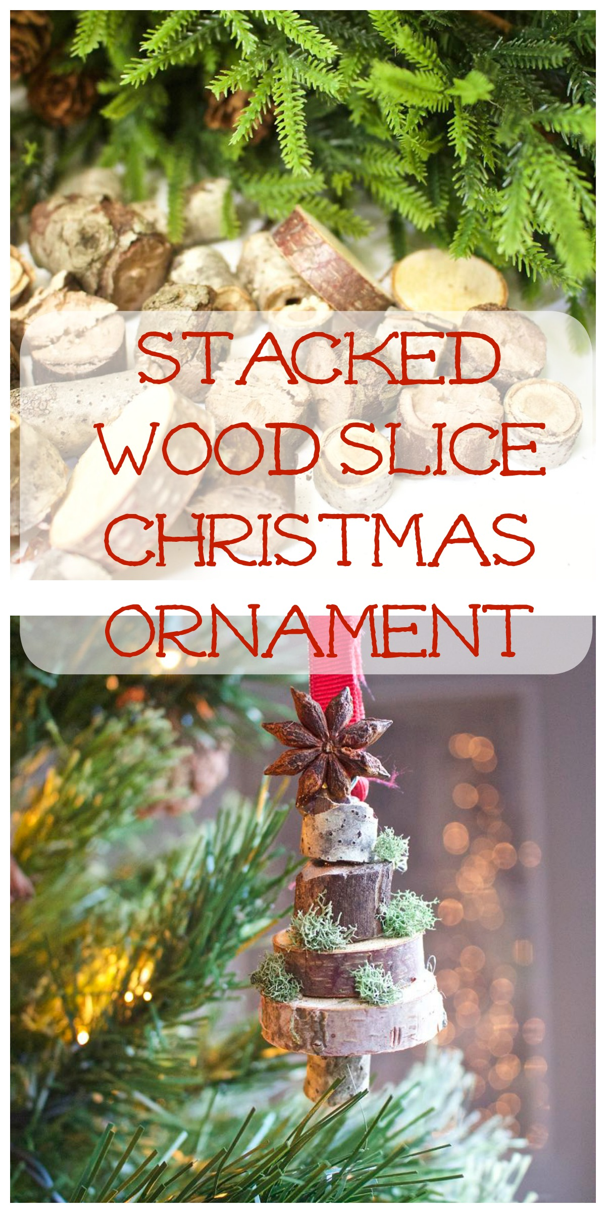 Stacked Wood Slice Ornament Collage