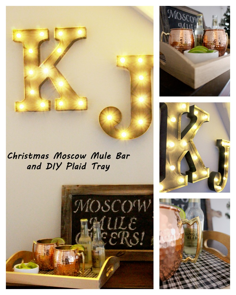 Christmas Moscow Mule Bar and DIY Plaid Tray