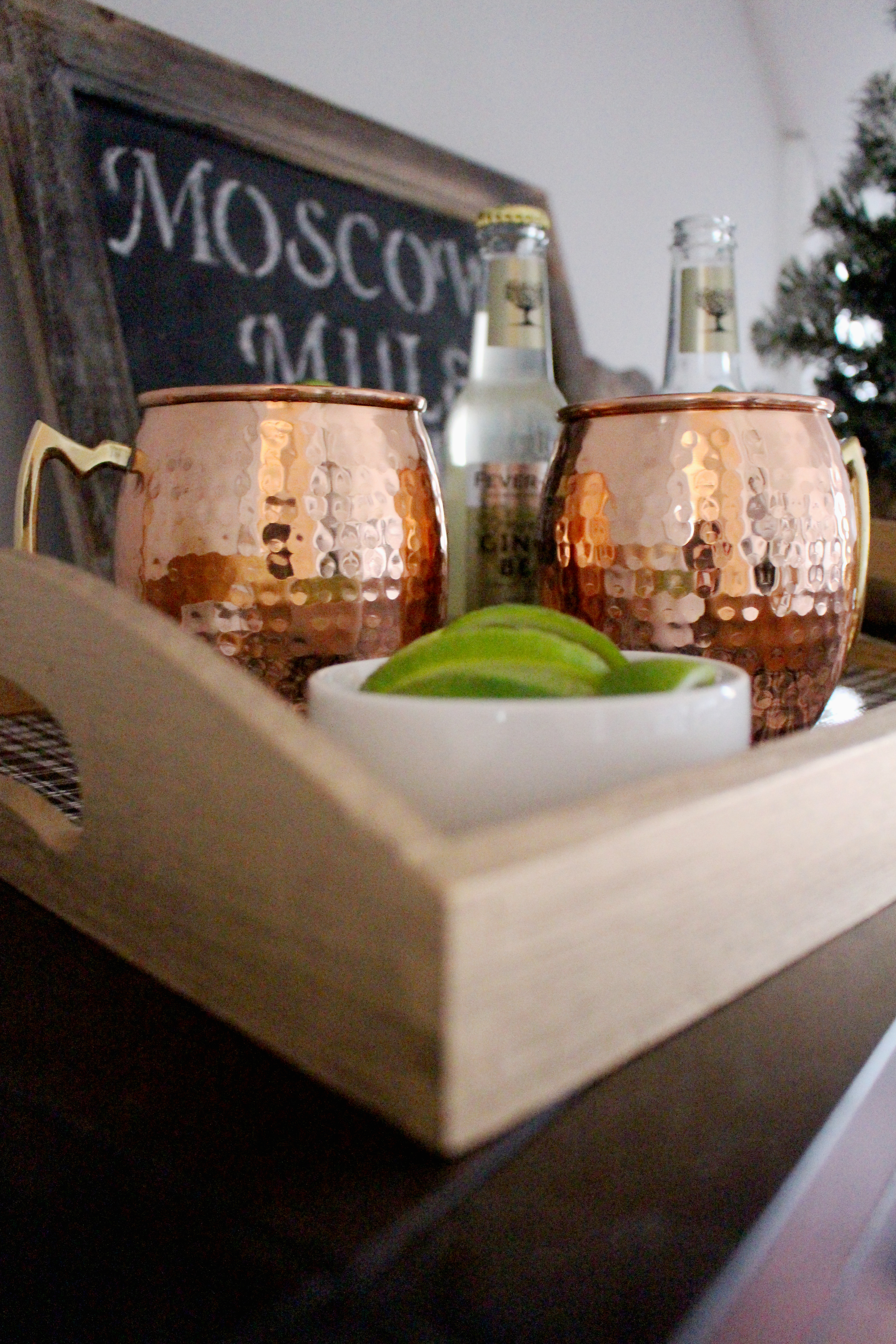 Christmas Moscow Mule and DIY Plaid Tray