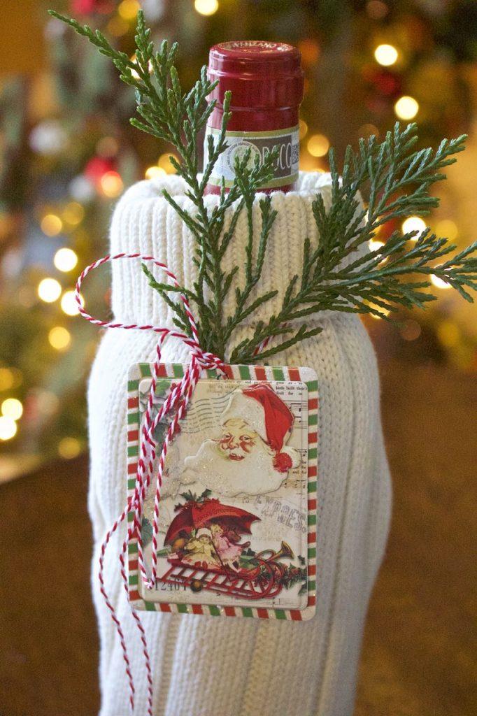 DIY Sweater Wine Bags