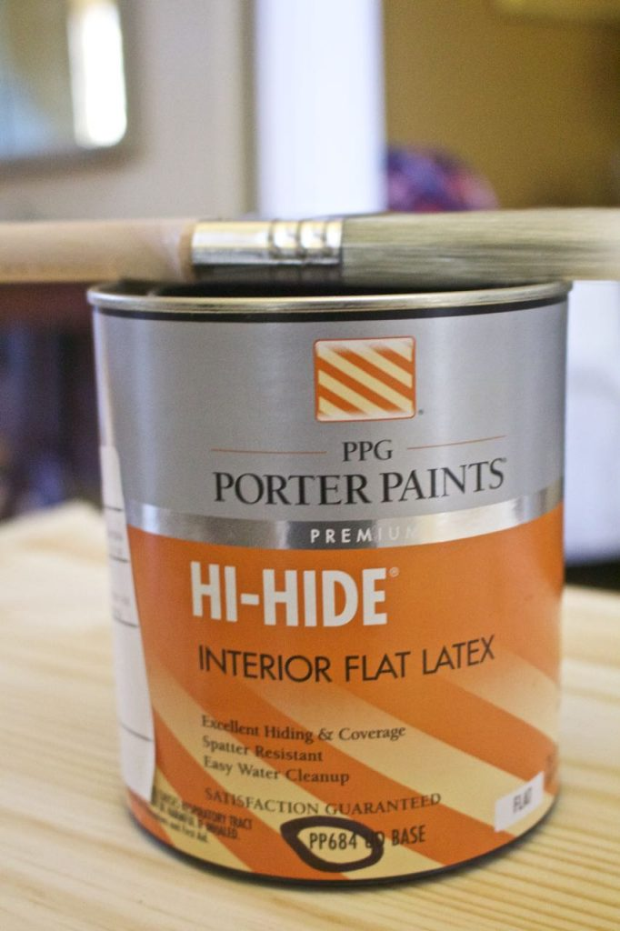 Since we were painting a piece of untreated wood, we went with an interior flat latex paint. And the people at PPG were so helpful.