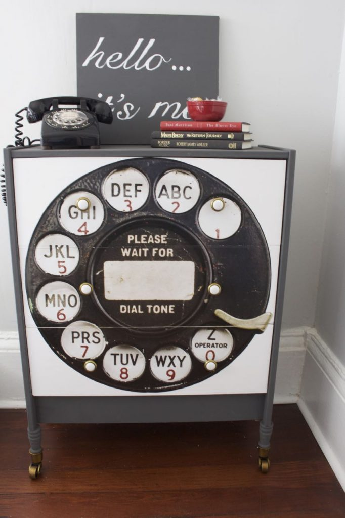 Please wait for the dial tone. This vintage rotary print from Hobby Lobby was the best find.