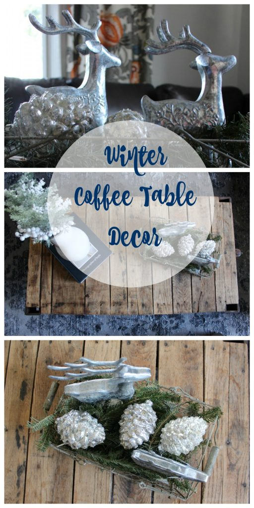Winter Vignette Coffee Table Decor
