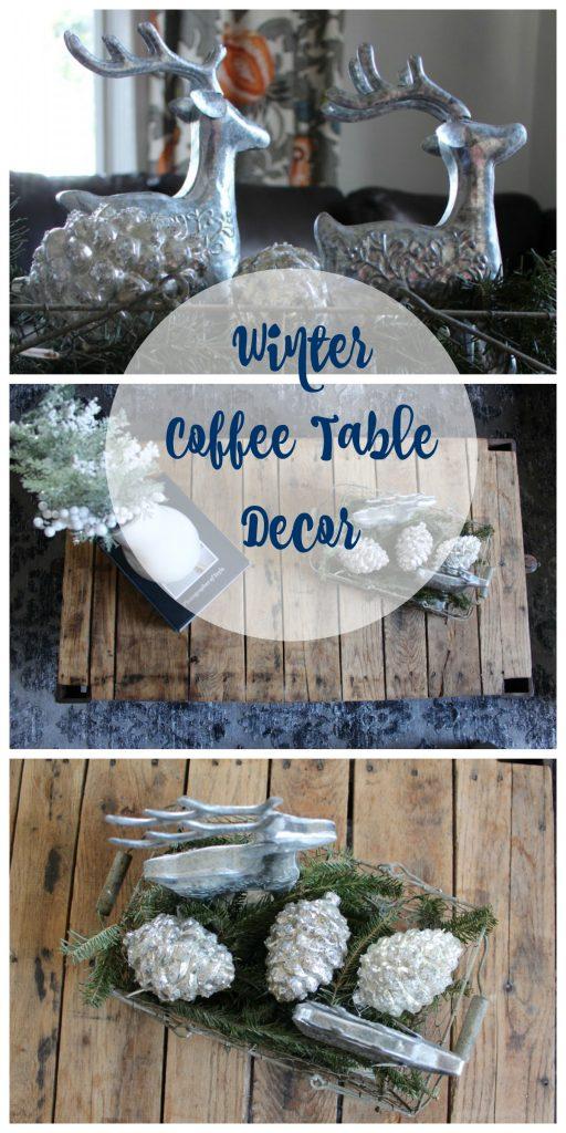 Winter Vignette Coffee Table Decor