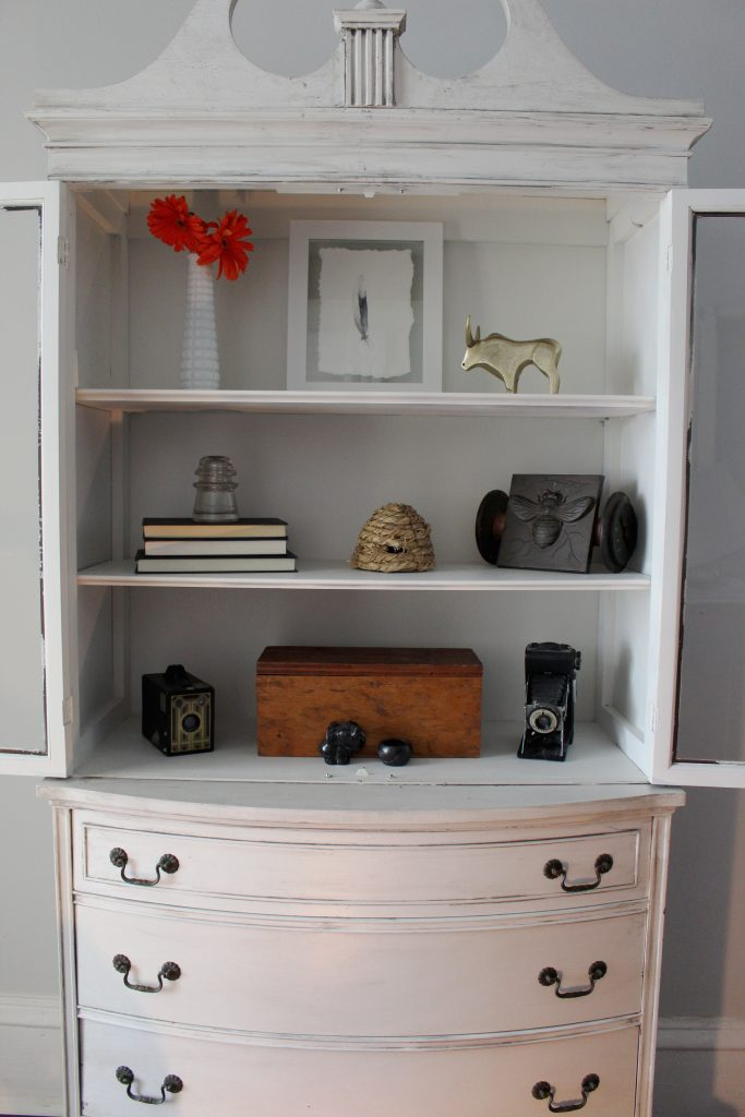 Secretary Shelves Decor and Refresh with farmhouse, rustic, and vintage elements
