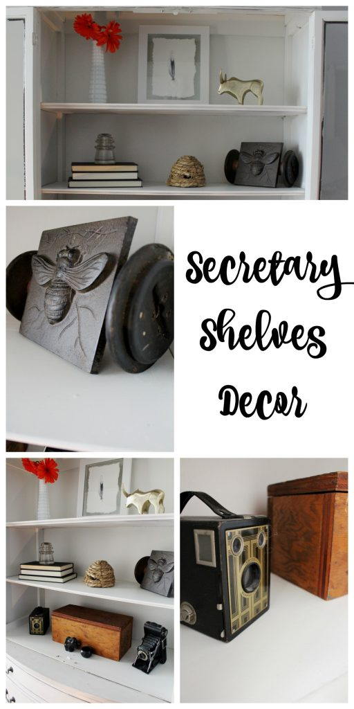 Secretary Shelves Decor & Refresh with vintage, rustic, and farmhouse elements