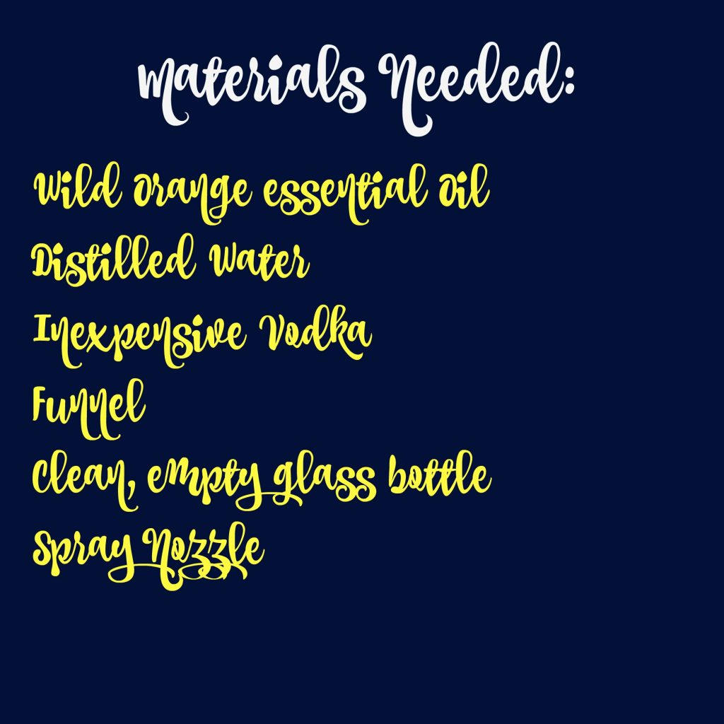 Materials list for cleaning spray