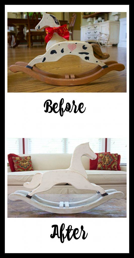 Rocking Horse Makeover.Thrift store rocking horse makeover with chalk paint.